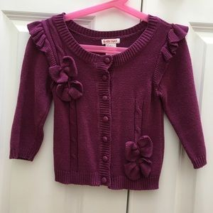 Baby Nay Cardigan Sweater Purple Bow Ruffle 3T